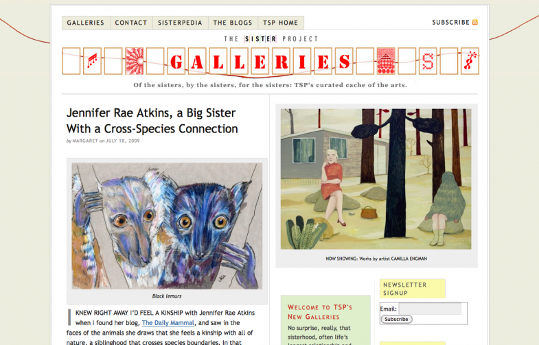 Screenshot from the Sister Project website
