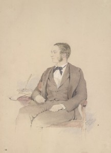 watercolor portrait of Sir Arthur Purves Phayre by Colesworthy Grant, 1855