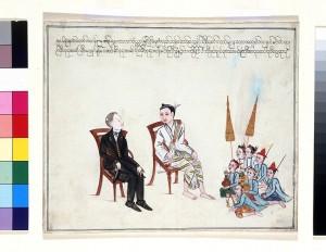 Burmese court painting, circa 1854, of Arthur Purves Phayre and an ambassador